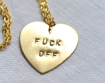 "Necklace medal minted heart ""FUCK OFF"""