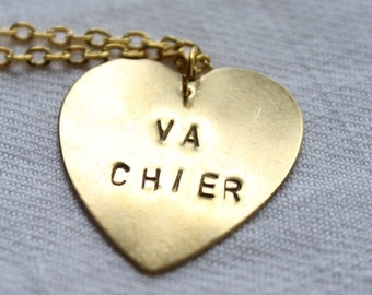 "Necklace medal minted heart ""VA CHIER"""