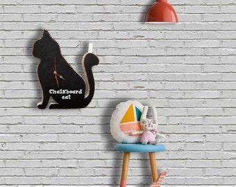 Omer Chalkboard cat, Wall clock Chalkboard, clock cat, cat decor, wall cat, cat art, Birthday gift, decor kid, clock Chalkboard, room decor