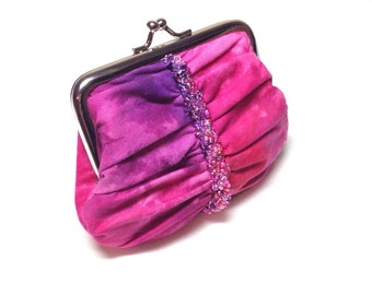 Tie dye swarovski beaded coin purse