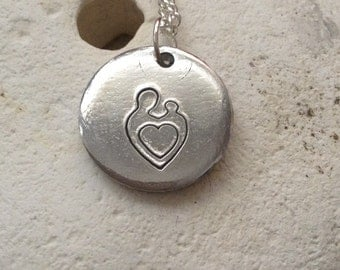 Parent and child, mother and baby, adoption necklace, heart jewellery