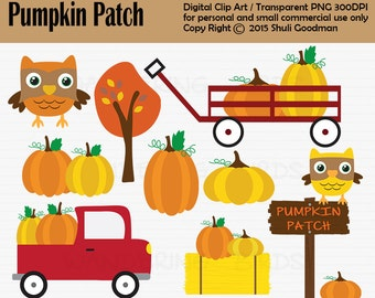 Pumpkin Patch Clipart For Personal and Commercial Use, Digital Clip Art, Instant Download, fall, harvest, autom, pumpkins, clip art