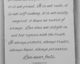 Love Never Fails ~ 1 Corinthians 13 4 8 PERSONALIZED Love is patient...Love Never Fails ~ Wedding, Anniversary, Valentine Word Art