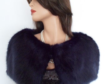navy fur capelet, navy blue fur, fake fur stole, wrap, shrug, shawl, midnight blue