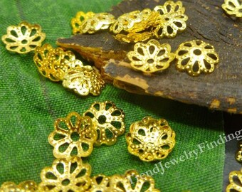 WHOLESALE- 300pc- Flower Bead Caps- Gold Plate Bead Caps - Gold Plated Findings - BC002