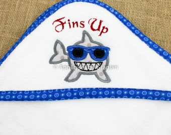 Personalized Appliqued Hooded Baby Bath Towel With Shark and Fins Up
