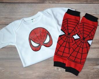 Spiderman Onesie and Leg warmer Set