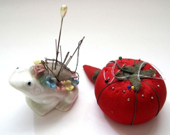 2 Vintage Pincushions, Flowered Frog Figurine, Bone China, Pearl Hat Pin, Vintage Tomato Pincushion, Sewing Notions, Photo Prop