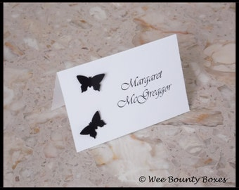 Set of 10 - White & Black Wedding Placement Name Cards
