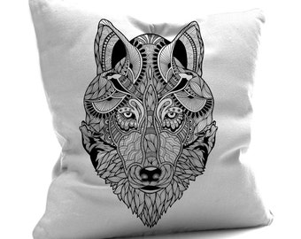 Wolf Cushion, Wolf Pillow, Wolf Art, Wolf Drawing, Pillow Case, Black & White Cushion, Wolves, Faux Suede Cushion