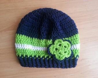 Seahawks beanie. Slouch hat. Slouchy beanie. Crochet hat. Crochet seahawks hat. Hat with flower. Blue crochet hat.