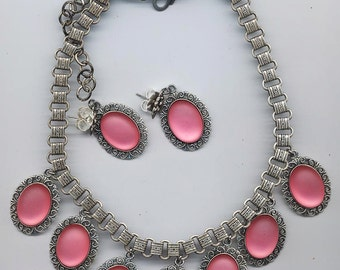 Necklace and earring set showcasing unbelievably beautiful Lunasoft watermelon cabochons