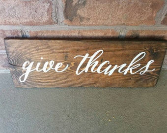 Give Thanks Handpainted Rustic Sign