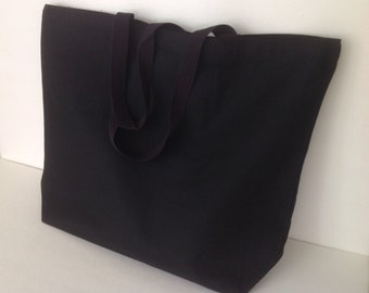 Extra large Black 12oz plain canvas tote, canvas tote, pocket plain canvas tote, durable blank tote, heavy duty market tote