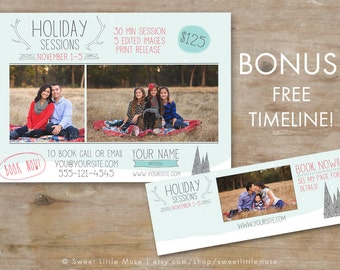 Holiday session template - christmas mini session template - photography marketing template - timeline template