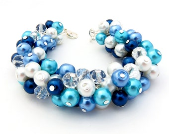 Navy Blue Pearl Bracelet, Chunky Cluster Bracelet, Blue Bridesmaid Bracelet, Bridesmaid Gift, Bead Bracelet, Blue Pearl Chunky Bracelet,