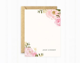 Personalized Stationery, Flower Stationery Cards, Pink Rose Stationery, Watercolor Flowers