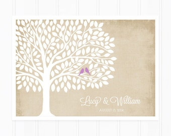 Guest Book Tree, Wedding Guest Book Alternative for 200 Guests, Orchid Purple with Distressed Background