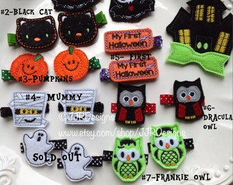Felties-Hair Clips, Felties, Halloween Felties- Halloween- Halloween Hair Clips