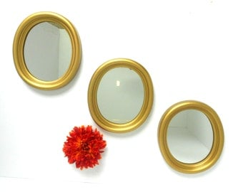"""8"""" H, Mirrors Gold, Oval Mirrors, Small Wall  Gold Mirrors, Wall Hanging, Mirrors, Gold Frame , Oval Wall Mirrors, Vintage Mirrors"""