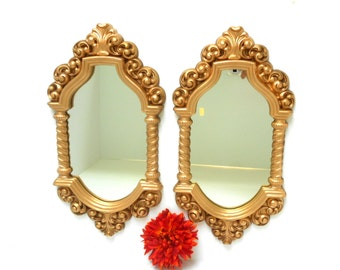 """Syroco Mirrors,Pair of Oval Wall Mirrors,16x 9"""""""",Oval Frame Mirrors Set,Gold Oval Mirrors,Italian Wall Oval Mirrors Set of 2,Oval  Mirrors"""