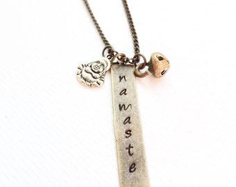 Namaste Necklace, Namaste Yoga Jewelry, Yoga Necklace, Namaste Christmas Gifts for Her, Buddha Charm Necklace - Gratitude