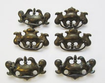 Lot of 6 Colonial Drop Drawer Handles, Unpolished with Patina, Dark Brass Finish, Pulls with Screws, Salvage, Furniture Supplies, Hardware