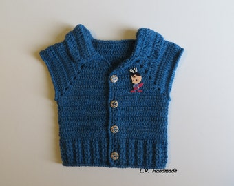 Blue Crochet Baby Boys Vest, 0 to 3 Months, Newborn baby clothes,  Sweaters, Sleeveless Cardigan, Spring Clothes, Blue, Baby shower gift