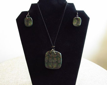 Trendy Rectangle Polymer Clay Necklace and Earrings Set