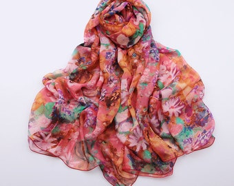 Floral Silk Scarf - Orange Red Floral silk Scarf - Floral Coral Silk Scarf - Orange Red Floral Silk Scarf -  AS2015-54