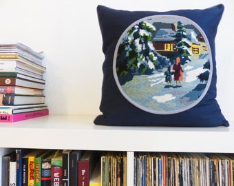 NEW cushions canvas snowy night Medallion embroidered Navy and grey