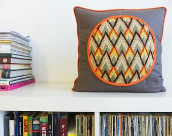 NEW cushions Medallion canvas zig - zag embroidered taupe and orange