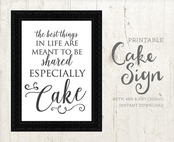 Cake Sign Share Cake Printable Sign For Cake Table Wedding