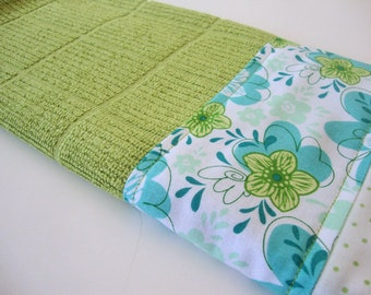 Decorative Kitchen Dish Towels - Fabric Trimmed Hand Towel - Green Tea Towel - Green Dish Towel - Green Blue Floral Towel