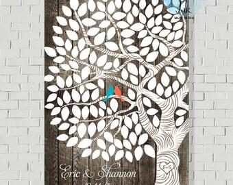 Rustic Wedding Tree - Wedding Guest Book - Unique Guest Book Print - Guestbook - Faux Wood Wedding Sign - Guestbook Tree - Wedding Poster