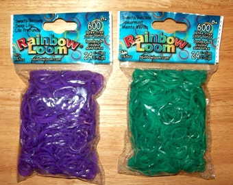 Rainbow Loom® Authentic Rubber Bands, Dual Layer, Sweets Glitter, Deep Lilac & Spearmint - Set of Two 600-Band Packages with 24 C-Clips