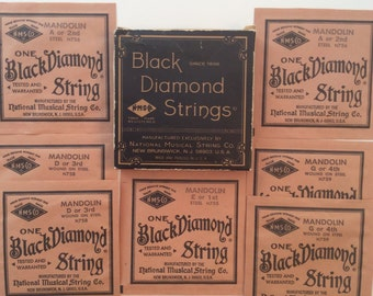 BLACK DIAMOND MANDOLIN Strings, Original Box, 7 Unopened Envelopes