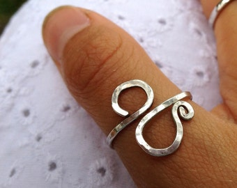 Custom Handmade Cold Forged Sterling Silver Spiral Ancient Script Writing Ring