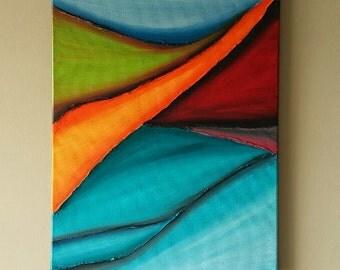 Original Blue abstract wall art, Modern Contemporary Landscape painting, Modern Wall decor, Home Decor, Abstract Landscape 16x20