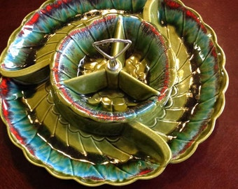Vintage 1950s California Pottery Appetizer Dish
