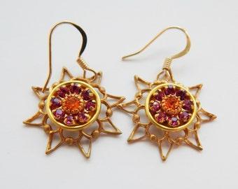 Swarovski Vintage Star Earrings,Vintage Swarovski Online,Swarovski Jewelry,Star earrings,Gold earrings designs,Unique Jewelry for Woman
