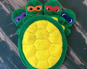Masked Turtle Finger Puppets with Shell Carrying Case - Sold Individually or as a Set