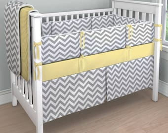 ONE TIME ONLY***Gray Chevron and solid color crib bedding (4 piece set on sale only)