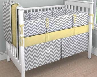 Gray Chevron and Yellow crib bedding set
