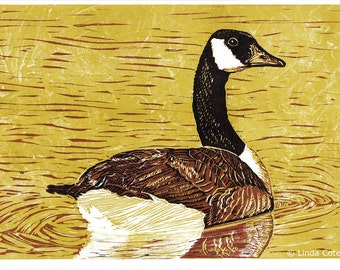Canada Goose, 3 Color Linocut Relief Print, Bird, Hand Pulled Fine Art, Limited Edition, Printmaking Original