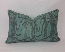 "13"" x 21"" Kelly Wearstler Agate Lake/Mink Linen Lumbar Pillow Cover"