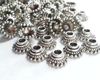 50 Bead Caps, 7x3mm, Silver, Antique finish