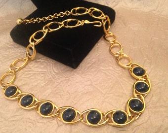 NAPIER Black Cabachon and Gold Tone Necklace