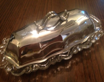 Silver Top on Glass Bottom BUTTER DISH