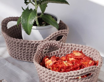 Set of 2, Crocheted Storage Basket, brown Basket, Hand Crocheted, Storage Solutions, home decor